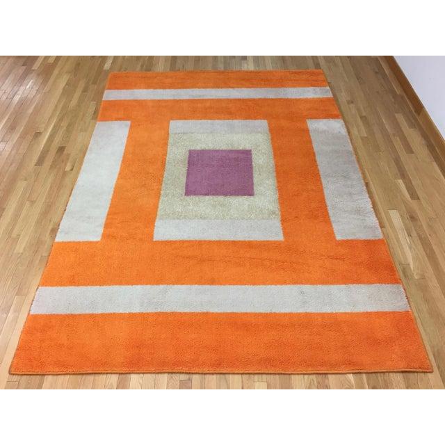 Vintage Belgian Geometric Pop Art Orange Elementa 80 Wool Rug - 6′6″ × 9′10″ - Image 2 of 8