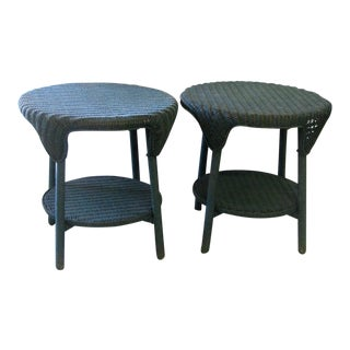 Vintage Green Wicker Side Tables - A Pair