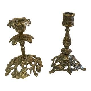 Vintage Ornate Brass Candlesticks - A Pair