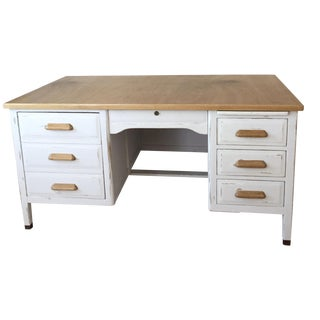 Mid-Century Typist's Desk in White