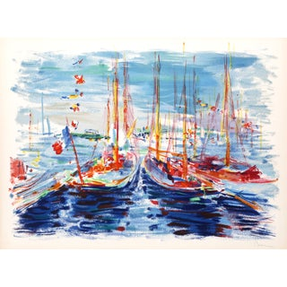 """Dimitrie Berea """"French Boats"""" Lithograph"""