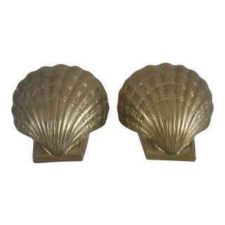 Mid-Century Brass Shell Bookends - A Pair