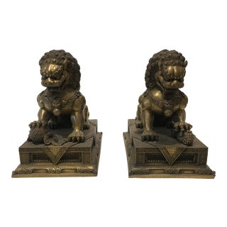 Pair Vintage Bronze Foo Dogs