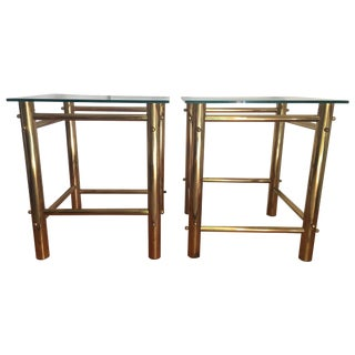Brass Tubular Side Tables - A Pair