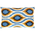 Image of Blue, Yellow & White Silk Velvet Ikat Pillow