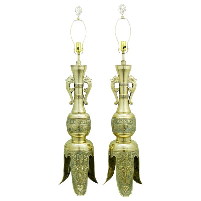Monumental Large Asian Brass Table Lamps Mid-Century Modern McM- a Pair - Image 1 of 11
