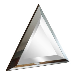 Vintage Mid-Century Beveled Glass Triangle Wall Mirror