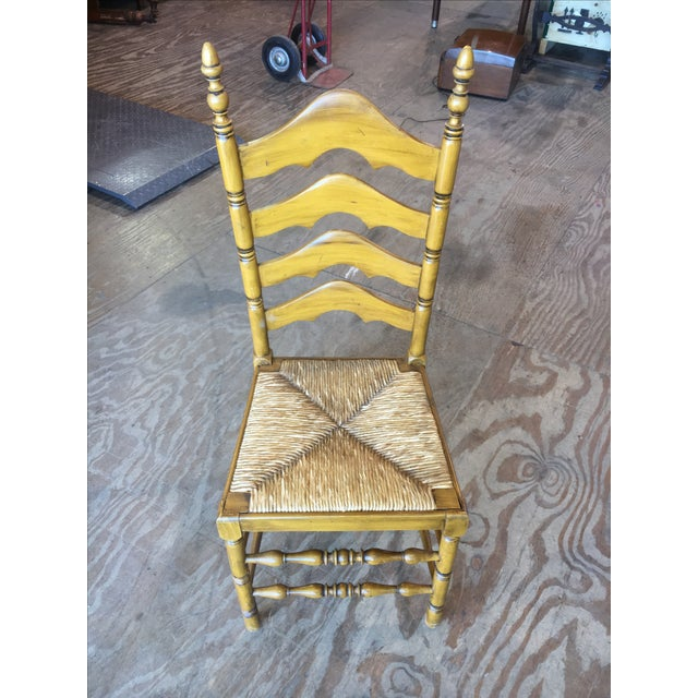 Antique Ladder Back Yellow Wood Chair - Image 3 of 10