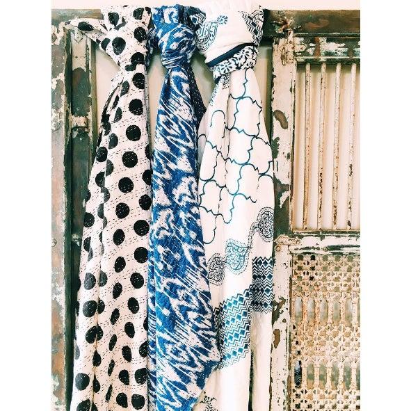 Blue Block-Printed Quilt - Full - Image 6 of 6