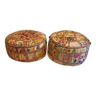 "Vintage India Pouf Embroidered Banjara Textile Ottomans 24"" - A Pair"