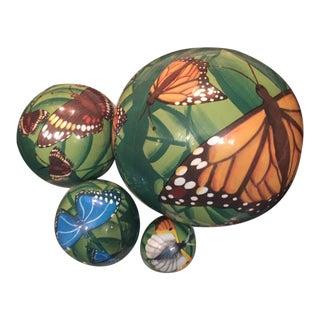 Boho Decor Vintage Wooden Butterfly Nesting Balls