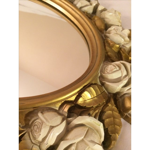 Vintgage Oval Homco Roses Ornate Mirror - Image 3 of 7