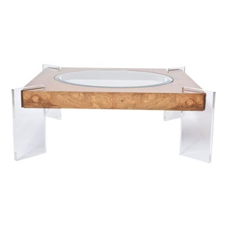 Burl Walnut, Lucite and Glass Low Table, Vladimir Kagan