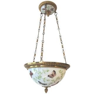 Antique French Butterfly Motife Milk Glass & Brass Light Fixture