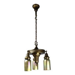 Lovely Arts & Crafts Reading Room Fixture with Art Glass