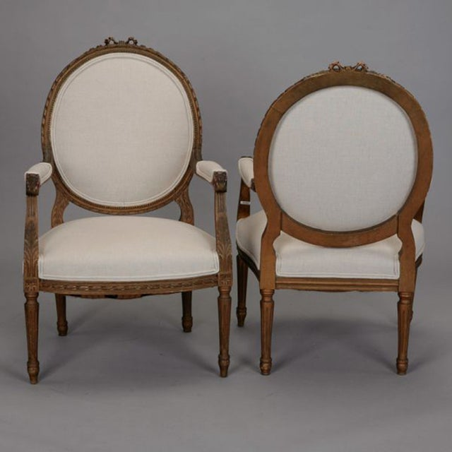 Louis XVI Oval Back Gilded Fauteuils - A Pair - Image 2 of 9