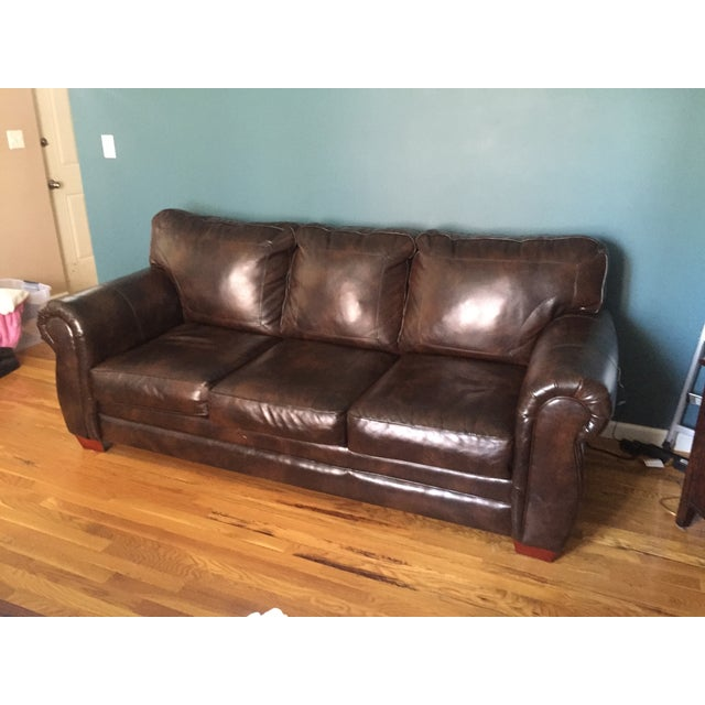 Image of My Bobs Brown Leather Couch