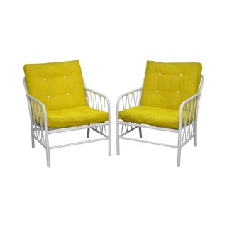 Brown Jordan Style Mid-Century White Patio Lounge Chairs - A Pair