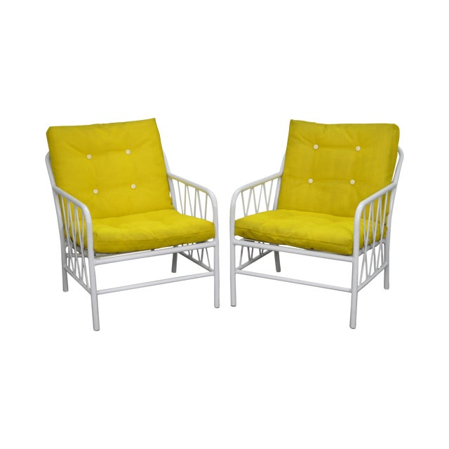 Brown Jordan Style Mid-Century White Patio Lounge Chairs - A Pair - Image 1 of 10