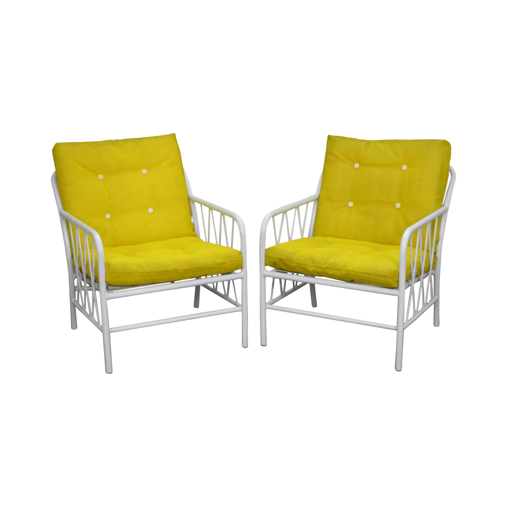 Awesome Brown Jordan Style Mid Century White Patio Lounge Chairs   A Pair