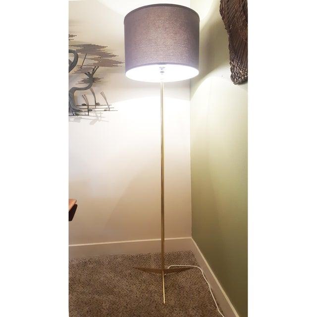 Mid Century Modern BrassTripod Floor Lamp in the Manner of Paul McCobb - Image 2 of 6