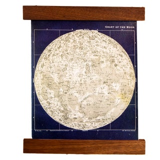 Navy and Ivory Mini Moon Chart Art Print Canvas