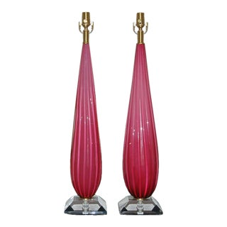 Lipstick Pink Monumental Murano Lamps