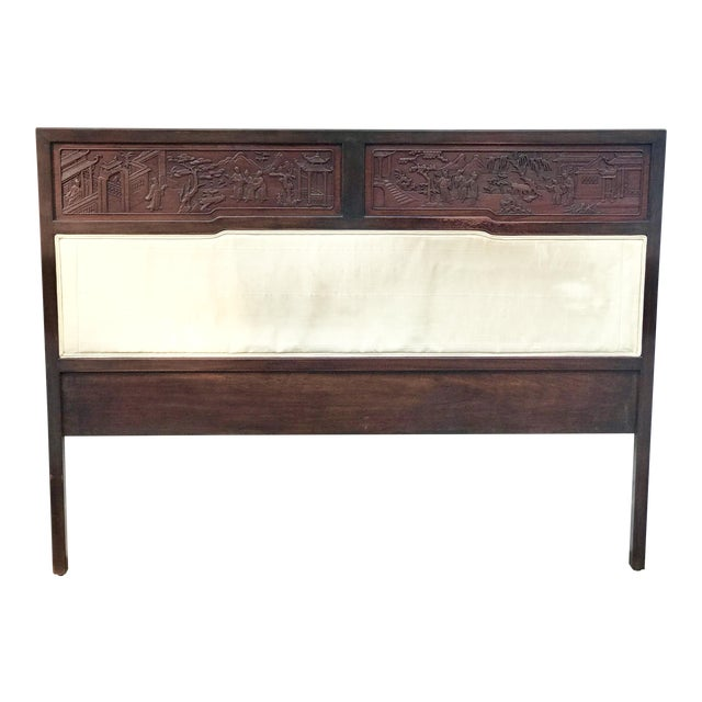 Antique Carved Asian Twin Headboard - Image 1 of 5