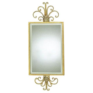 Hand Wrought Iron Mirror With Gold Leaf Frame