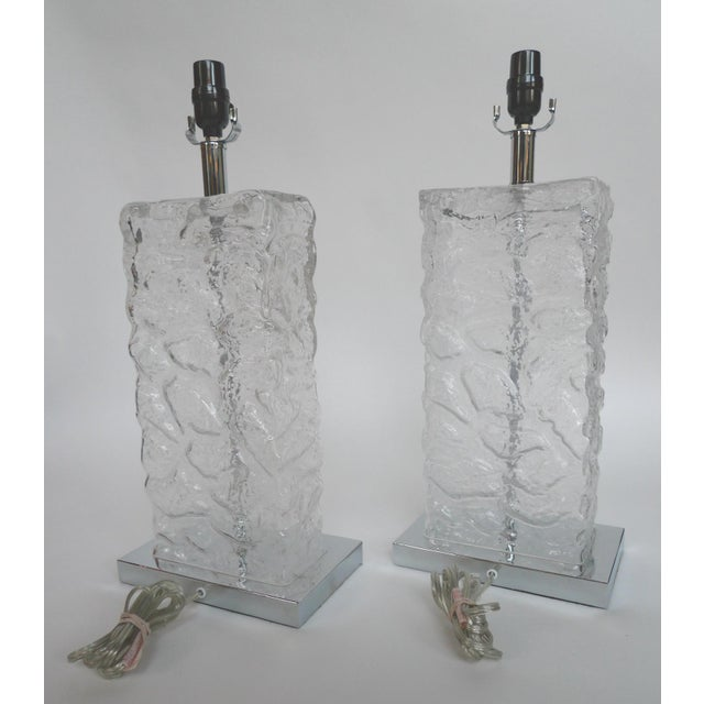 Modern Ice Cube Glass Table Lamps - A Pair - Image 4 of 8