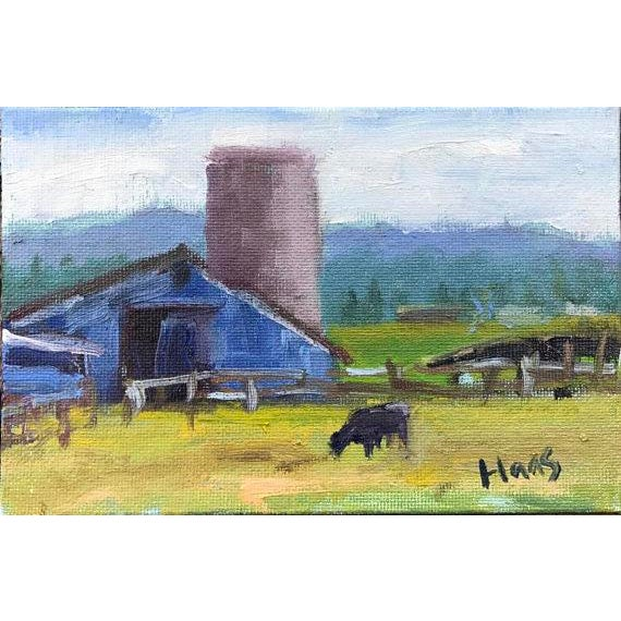 """Petaluma Blue Barn & Cow"" Painting - Image 11 of 11"