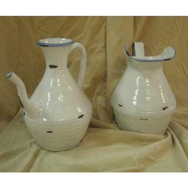 Italian White Pottery Pitchers - A Pair - Image 3 of 5