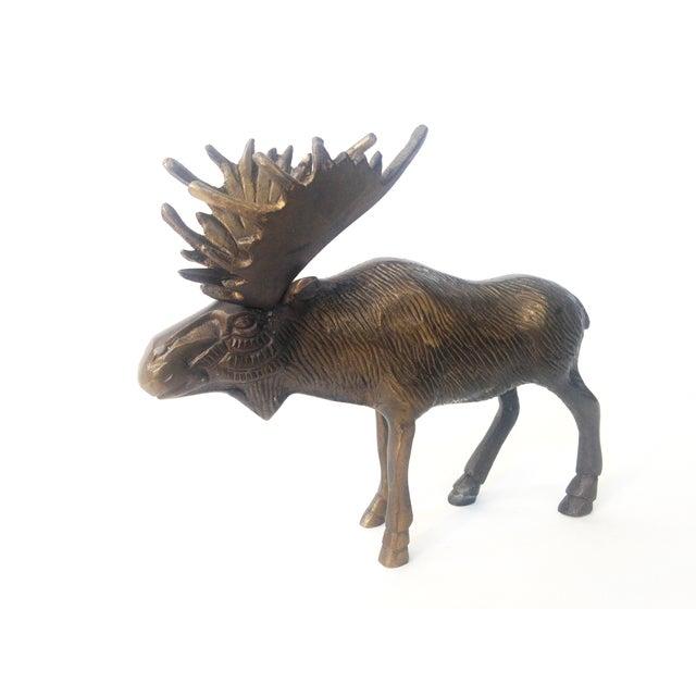 Vintage Brass Moose Statue - Image 3 of 5