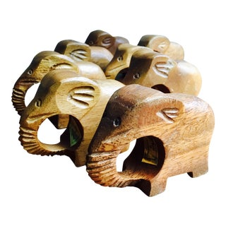 Teak Elephant Napkin Rings - Set of 8