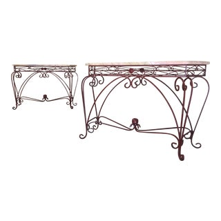 Vintage Iron & Marble Top Consoles - A Pair