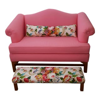 Pink Loveseat With Footrest & Lumbar Pillow