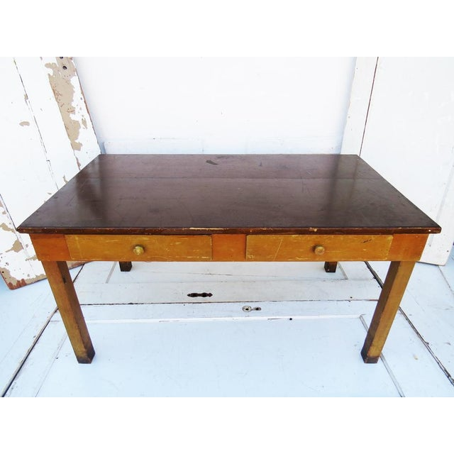 Vintage 1940's Academia Library Table / Desk - Image 3 of 5
