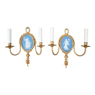 Antique Wedgwood Dore Bronze Jasperware Blue Wall Sconces - a Pair