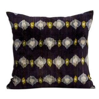 Eggplant Silk Velvet Ikat Pillow