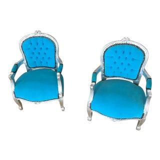 Sky Blue & Silver Chair - A Pair