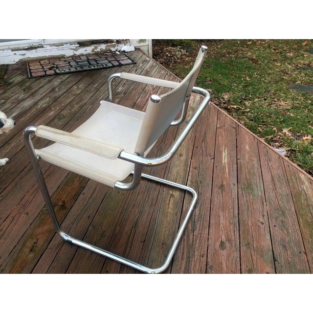 Vintage Mart Stam Breuer Style Tubular Chrome & Gray Leather Chair - Image 10 of 11