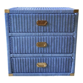 Lacquered Periwinkle Blue Wicker and Rattan Mid-Century Campaign Dresser