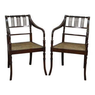 Custom Pair of Regency Style Solid Mahogany Cane Seat Arm Chairs
