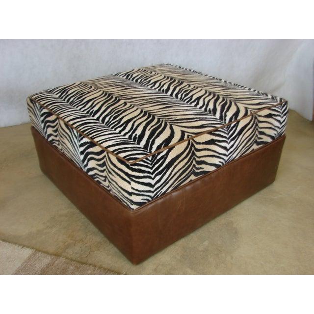 Custom Faux Zebra And Leather Ottoman Chairish