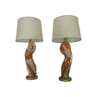 Mid-Century Chalkware Dancer Lamps - A Pair