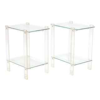 Pair Of Lucite And Glass End Tables/ Night Stands