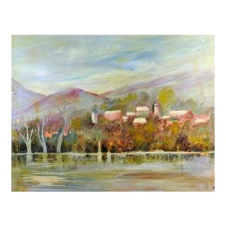 Riverside Village Landscape Painting