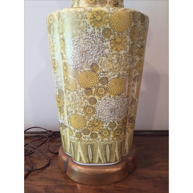 Image of Vintage Yellow Champange Floral Lamp