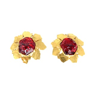 YSL Gripoix Ruby Poured Glass Earrings