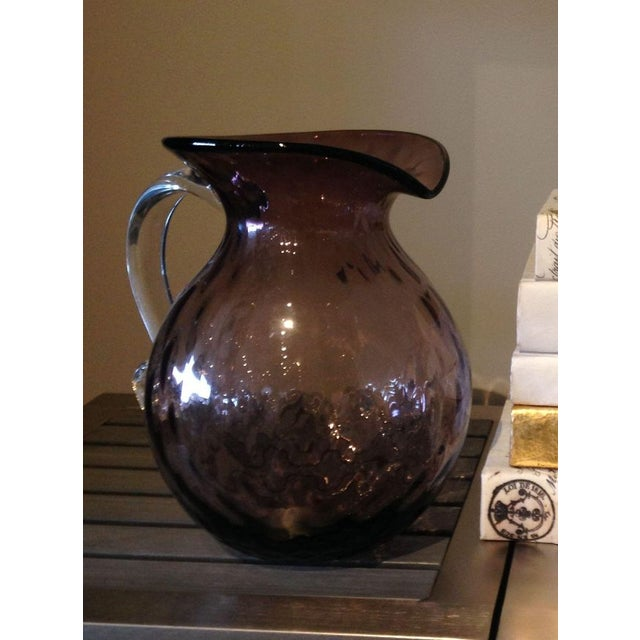 Image of Blenko Glass Orchid Optic Pitcher